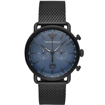 阿玛尼(EMPORIO ARMANI)手表 欧美品牌男士飞行员AVIATOR系列新款时尚流行钢带石英表男 AR11201