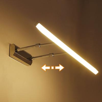 LED镜前灯三色调光现代简约不锈钢可伸缩浴室卫生间免打孔镜柜灯