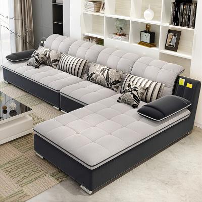中派 布艺沙发可拆洗客厅转角大小户型时尚沙发组合简约现代