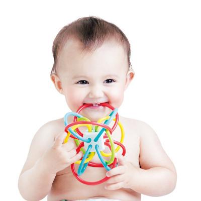 澳贝(AUBY)多功能牙胶手抓球 益智玩具 TPU软胶 宝宝摇铃 安全可啃咬 0-6个月 464418DS
