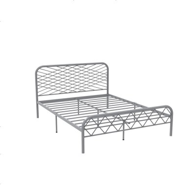 北歐ins網紅風斯黛拉金色雙人鐵床極簡設計師1.8米床鐵藝床成人 1500mm*1900mm_灰色(排骨架