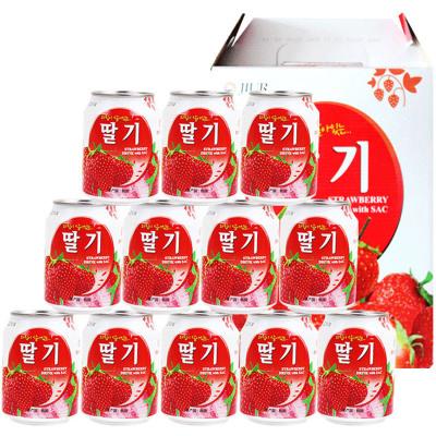 九日韓國進口飲品果肉粒草莓味果汁飲料批發禮盒整箱批發238ml*12