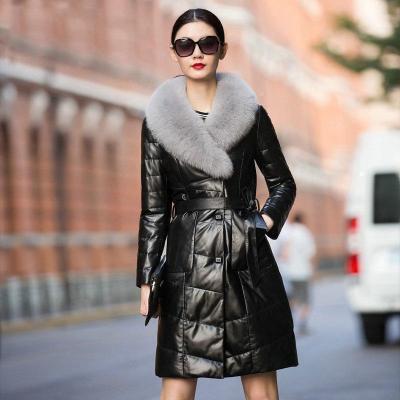 憨厚皇后 秋冬新款海寧真皮羽絨服長款時尚顯瘦狐貍毛綿羊皮外套W