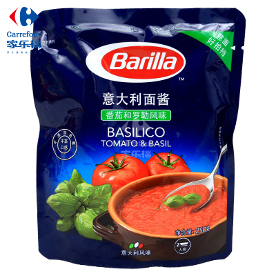 【家乐福】Barilla意大利进口百味来蕃茄和罗勒风味意大利面酱