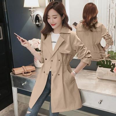 女士風衣中長款大碼2020春裝新款韓版收腰顯瘦修身小個子春秋外套