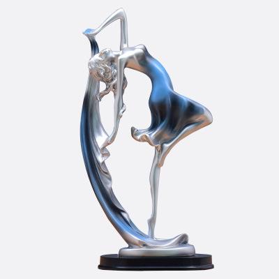 歐式客廳家居裝飾品創意酒柜電視柜抽象工藝擺件塑藝術禮品擺設-樹脂情侶兔一對【金色】 瑜伽美女側臉款
