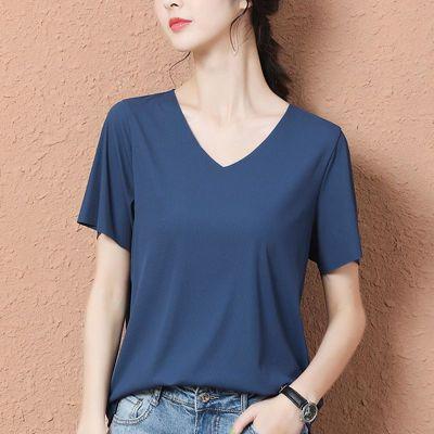 新款冰絲短袖T恤春夏季純色女無痕薄款潮V領體恤韓版白色寬松上衣