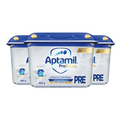 aptamil德國愛他美嬰幼兒配方奶粉白金版pre段800g/罐安心罐0-6個月*3罐組合裝
