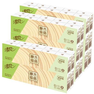 清風原木純品手帕紙 三層40包,8張/包迷你餐巾紙家庭裝衛生紙新老包裝隨機發貨。