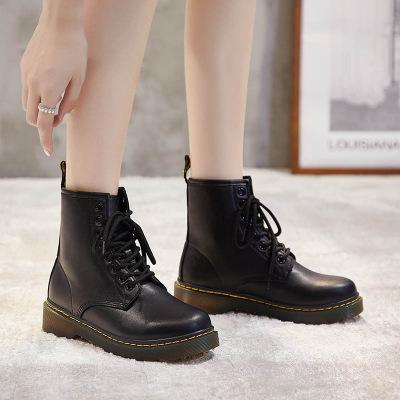 策恩公牛英倫馬丁靴女2020秋季新款百搭休閑短靴女ins學生機車瘦瘦厚底靴