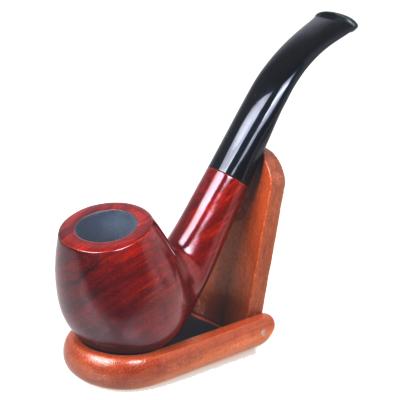 三達SANDA紅檀木煙斗 清洗型彎式膠煙嘴 過濾芯煙斗煙具