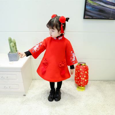 女童旗袍冬过年喜庆拜年服儿童新年装中国风婴儿服女宝宝唐装冬