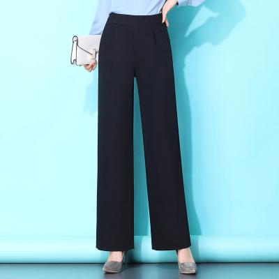 季言姿 闊腿褲女西褲2020春夏新款高腰垂感黑色直筒寬松西裝褲拖地長褲