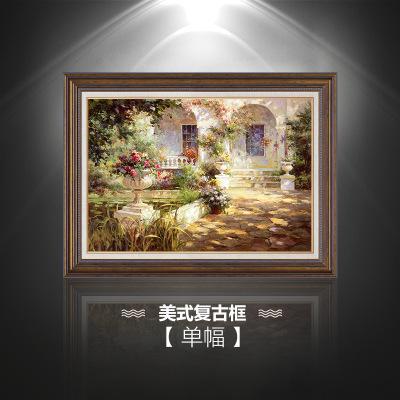 新中式山水风景油画 欧式客厅装饰画 沙发背景墙画 三联壁画 组合挂画 单美式复古框
