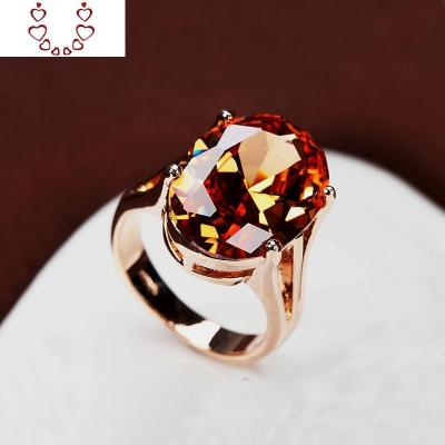 超大橢圓形香檳鉆戒指 裸水晶寶石 中食指裝飾戒 歐美大碼女 Chunmi水晶戒指