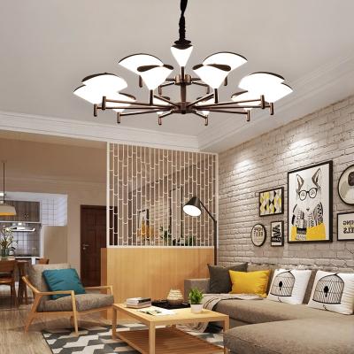客厅灯北欧现代简约设计师大气个性创意时尚两室一厅家用吊灯 8头金色无极调光