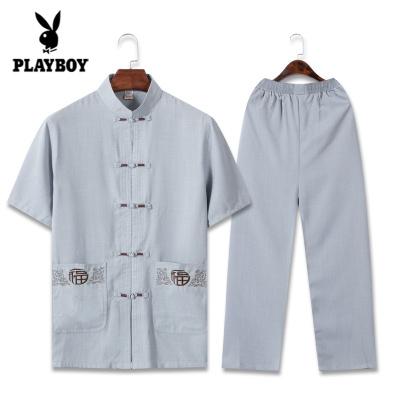花花公子 ( PLAYBOY ICON )唐裝男中老年人復古風棉麻短袖套裝薄款中式漢服男裝爺爺居士衣服