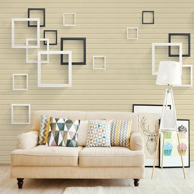 北歐閃電客現代簡約方塊電視背景墻紙客廳臥室家用大氣高檔影視墻布裝飾 (整張)無縫宣絨布/平方