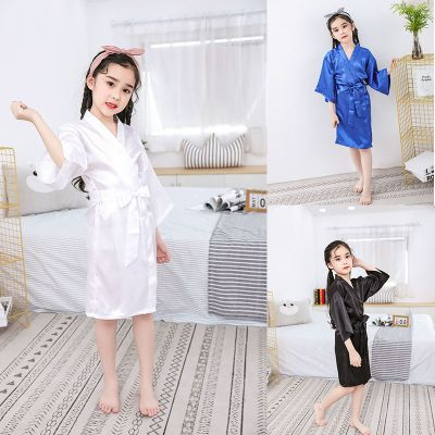 日式兒童睡衣女童夏季新款純色睡袍寬松冰絲薄款小中大童浴袍童裝 臻依緣