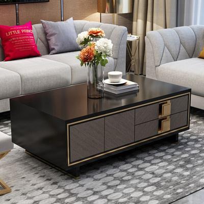 唐臻美式輕奢后現代電視柜現代簡約小戶型烤漆鋼化玻璃茶幾電視柜組合 茶幾(1.35*0.7米) 整裝