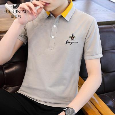 富貴鳥 T恤 男裝 男士 短袖 t恤 2020 新品 夏季 新品 polo 衫 男 體恤 翻領 休閑 薄款 韓版 純色