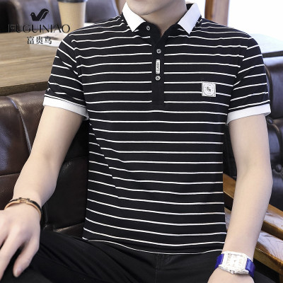 富貴鳥 短袖 polo 衫 2020 夏季 新品 男裝 男士 翻領 t恤 休閑 商務 韓版 體恤 T恤 男 潮流 條紋