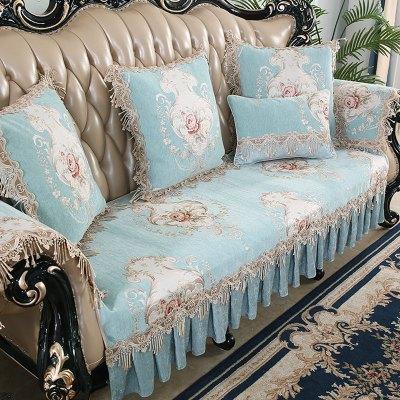 原色馨居 歐式真皮沙發墊四季通用客廳123組合沙發套罩貴妃圓弧形靠背定制