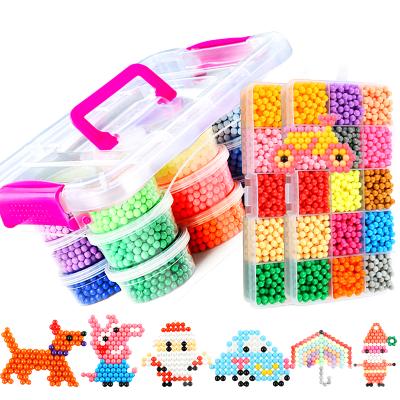 神奇水霧魔法珠兒童手工diy制作魔珠水粘珠男孩女孩益智套裝15色+6色透明+3色菱形共4500帶配件收納盒 速翔玩具