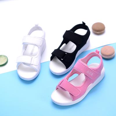 女童白色凉鞋2019夏季新款软底防滑男童凉鞋中大童沙滩鞋 纤婗(QIANNI)