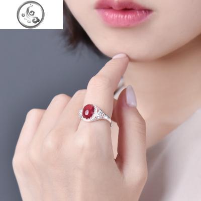 红玛瑙戒指女999纯银祖母绿玉髓镶嵌指环复古开口宝石戒子送妈妈   JiMi