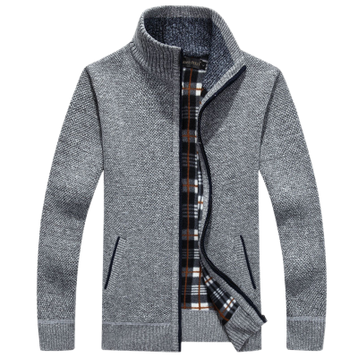 【加絨加厚】冬季加厚男士開衫毛衣立領針織衫加絨大碼毛線外套男運動毛衣 臻依緣