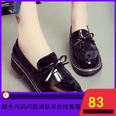 黑色英伦小皮鞋女jk2019秋季新款学生平底百搭秋鞋配裙子单鞋