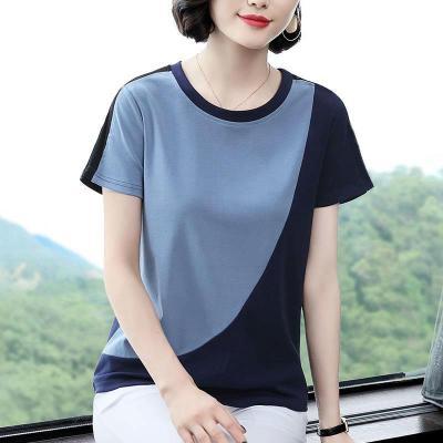 追記 女士短袖2020年新款寬松夏棉質大碼中年時尚T恤寶藍色拼接上衣潮