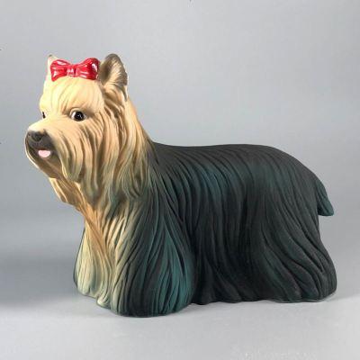 新款 陶瓷生肖美女狗约克夏儿童生日礼物家居饰品摆件品