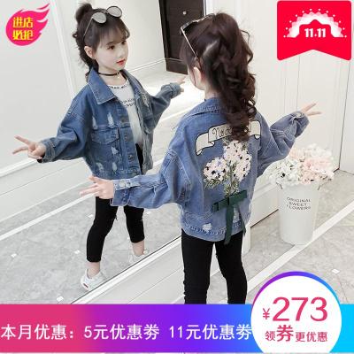 女童牛仔外套春裝2019新款兒童洋氣紅小女孩時髦童裝春秋超洋氣