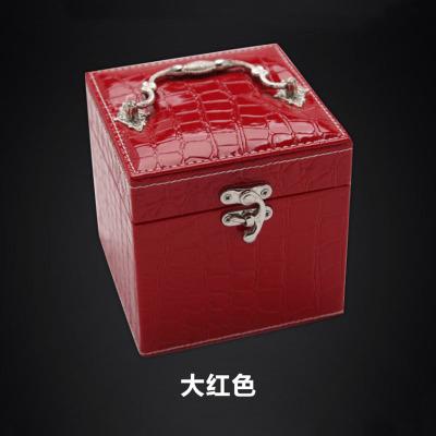 手提鳄鱼纹皮革首饰盒 三层小饰品盒 生日礼物珠宝收纳首饰盒 红色