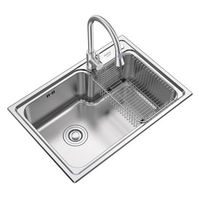 箭牌(ARROW)304不锈钢厨房水槽单槽套装 厨房洗菜盆洗手盆 洗碗水池配304不锈钢抽拉式冷热厨房水龙头