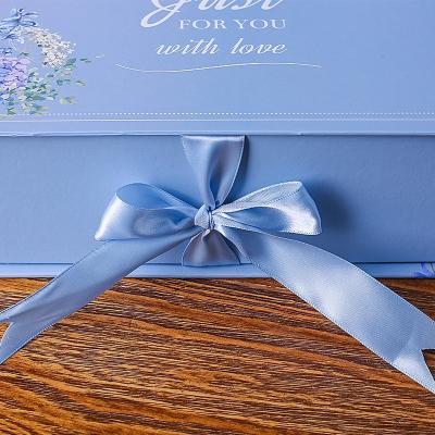 長方形翻蓋簡約禮品盒韓版禮物包裝盒粉色藍色禮盒平安圣誕節盒 清新藍色 大號外徑(30.4*21.5*10cm)
