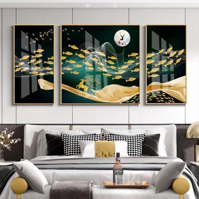 麋鹿魚群 左右70*90中間90*90(適用4米沙拉絲黑拼套 新中式輕奢晶瓷畫客廳鹿魚群三聯裝飾畫現代簡約沙發背景墻掛畫