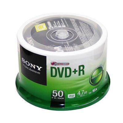 索尼(SONY)16x 光碟片 DVD+R刻录光盘 50片120min dvd刻录盘 空白dvd光盘 4.7G/片 桶装