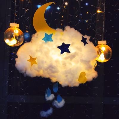 晚安好夢の棉花云朵燈diy材料少女房間裝飾小夜燈手工ins宿舍掛飾