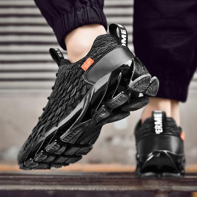 波斯萊2020春季男鞋運動休閑鞋飛織網面透氣大碼運動鞋跑步鞋刀鋒鞋底防滑耐磨鞋子男