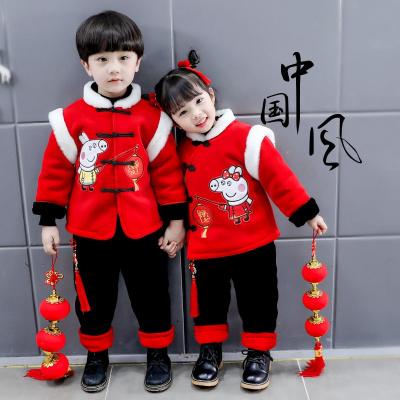 宝宝新年唐装冬款男童女童过年装中国风汉服加厚加绒周岁礼服套装凝骢