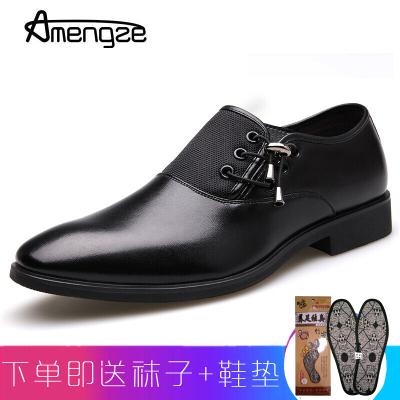 Amengze艾夢哲 時尚商務正裝鞋 休閑男鞋 男士皮鞋結婚鞋 頭層牛皮尖頭鞋