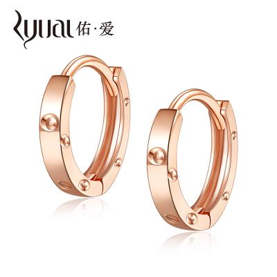 Ryual 18K金耳環玫瑰金女士耳圈彩金耳扣耳飾 黃金時尚百搭送戀人老婆計價款