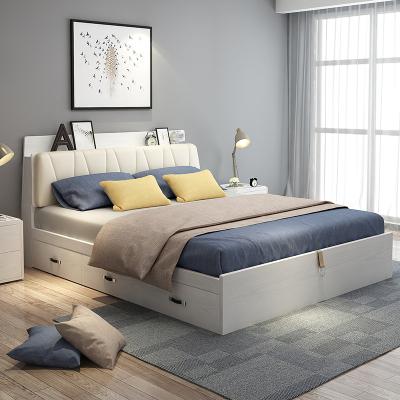 木月 床 北歐簡約現代雙人床1.5m1.8m氣動儲物床臥室家具 素錦系列
