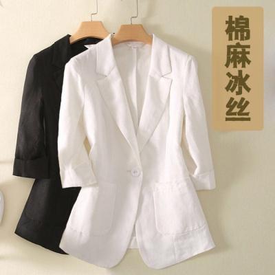 小西裝女春夏新款薄款棉麻七分袖中長款韓版女裝大碼西服外套修身 臻依緣