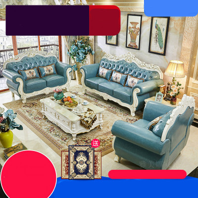 歐式真皮沙發實木小戶型客廳頭層牛皮皮沙發組合整裝美式家具