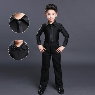 秋冬少儿男童拉丁比赛服加绒演出服男孩考级加厚舞服练功规定服装