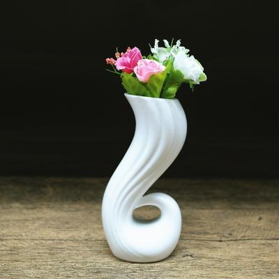 米魁陶瓷小花瓶陶瓷水培花瓶纯白色干花花插清新花瓶家居餐桌摆件 情人花插